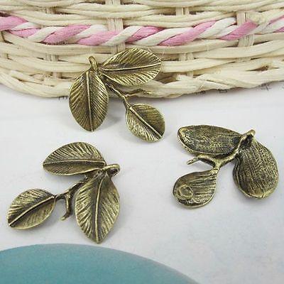 10pcs antiqued bronze three leaf charms/pendants G316