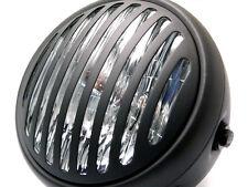 """Matt Black 6 3/4"""" Retro Cafe Racer Prison Steel Headlight for Harley Davidson"""
