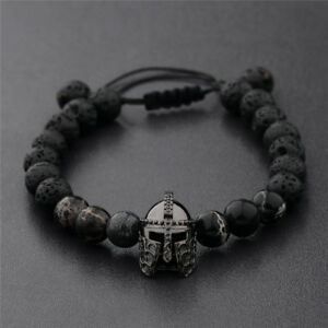 Men-Charm-Black-Spartan-Helmet-Beaded-Natural-Stone-Adjustable-Macrame-Bracelets