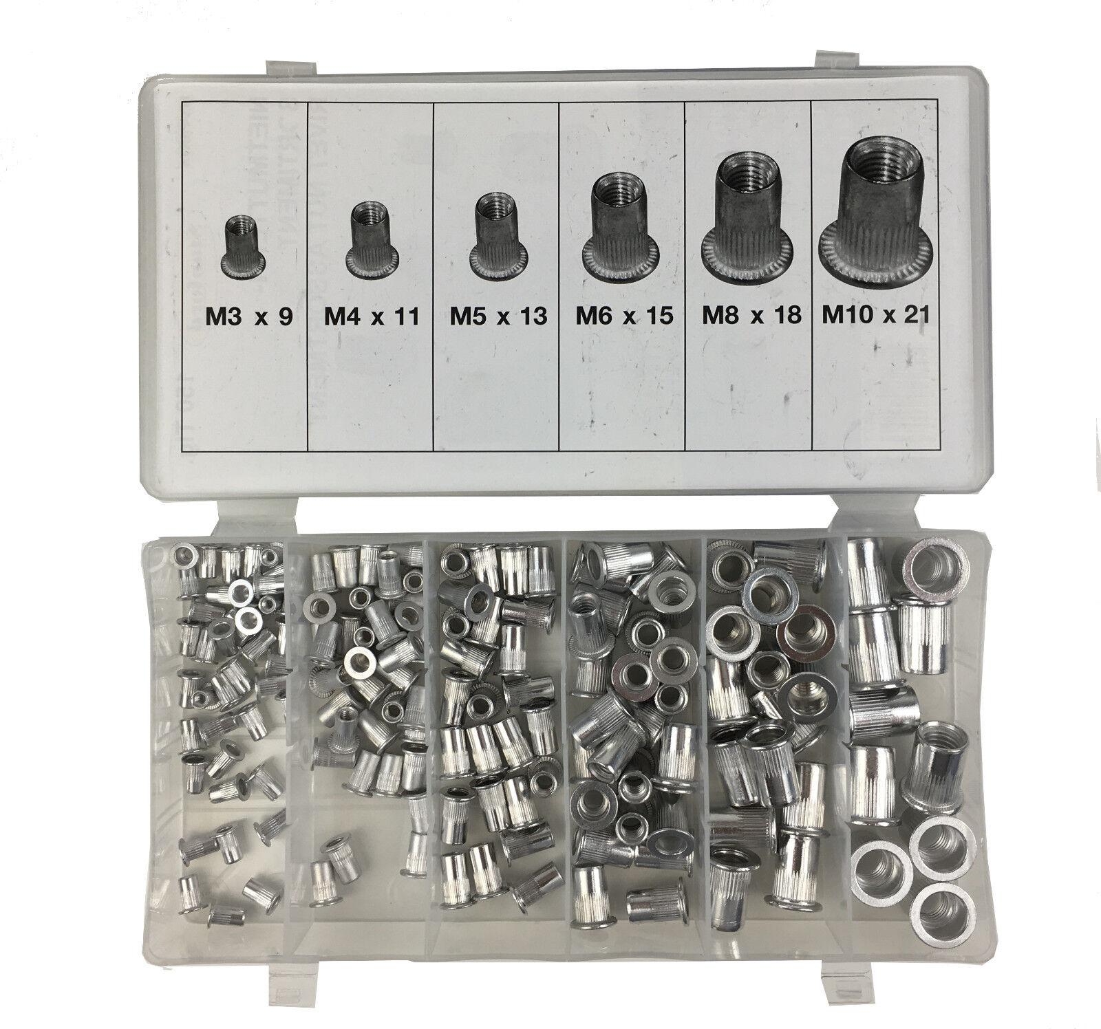 M8 Nietmutter Gewindeniete Nietmuttern 300 x Alu//Stahl Blindnietmutter M3