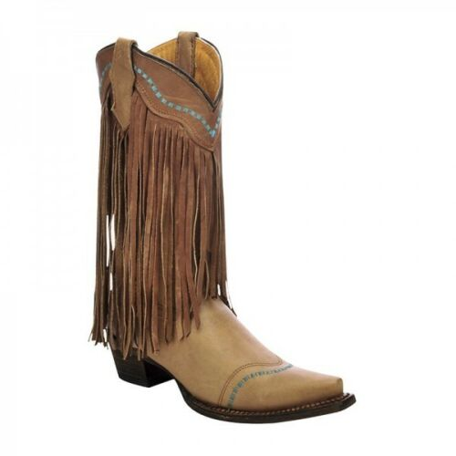 YOUTH CORRAL FRINGE COWGIRL BOOTS A3152 ~ BROWN//TURQUOISE STITCHING~SNIP TOE