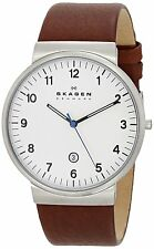 Skagen SKW6082 Men's Ancher Leather Band 3-Hand Analog Arabic White Dial Watch