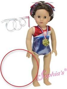 Red-White-Blue-Gymnastics-Leotard-Gold-Medal-Ribbon-fit-18-034-American-Girl-Doll
