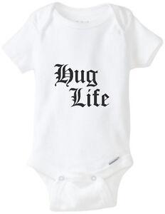 ddd839572 Hug Life Thug Gangsta 2pac Gerber Onesie Funny Baby Shirt Bodysuit ...