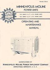 Minneapolis Moline Cu Hu Power Unit Operators Instruction And Service Manual
