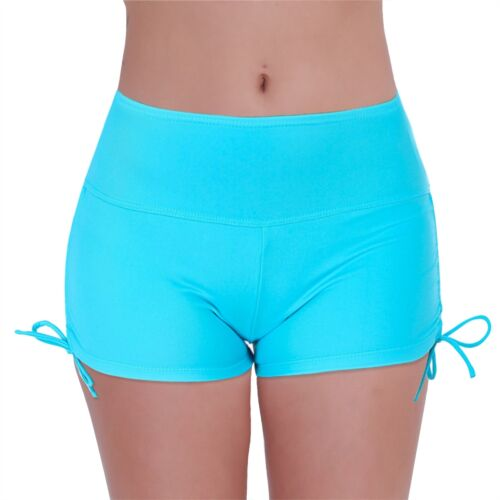 Women Boy Leg Bikini Bottom Boardshorts Swimwear Swim Brief with Adjustable Ties