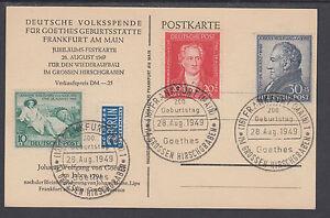 Germany Sc B306-B308 used 1949 Goethe Bicentenary on PPC w/ Berlin Etiquette