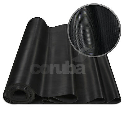 Anti Slip Fine Ribbed Rubber Matting - 4.5mm Thick - 1.0m Wide - Length Options