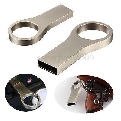 NEW 32GB USB 2.0 Key Chain Ring Metal WaterProof Flash Memory Stick Drive Thumb