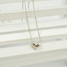 Silver Fashion Plated Heart Women Bib Statement Chain Jewelry Pendant Necklace
