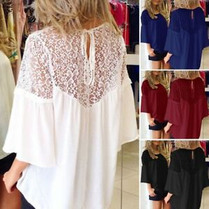 UK-Stock-Women-Lace-Up-Crochet-Evening-Party-Ladies-Tops-Loose-Blouse-Shirt-Plus