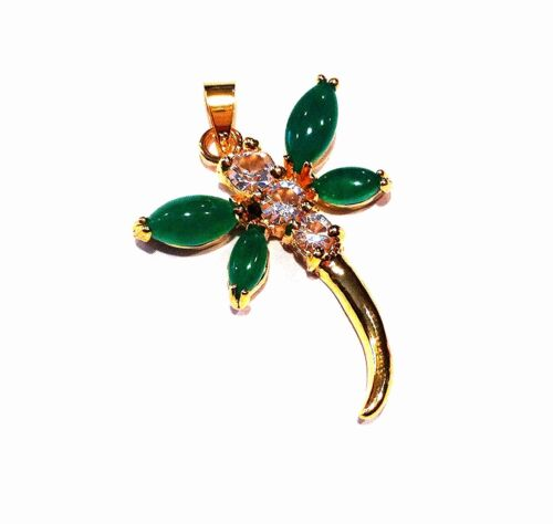 Details about  /Green Jade Pendant in Dragonfly Design with Rhodium Plated Bail Gold Tone