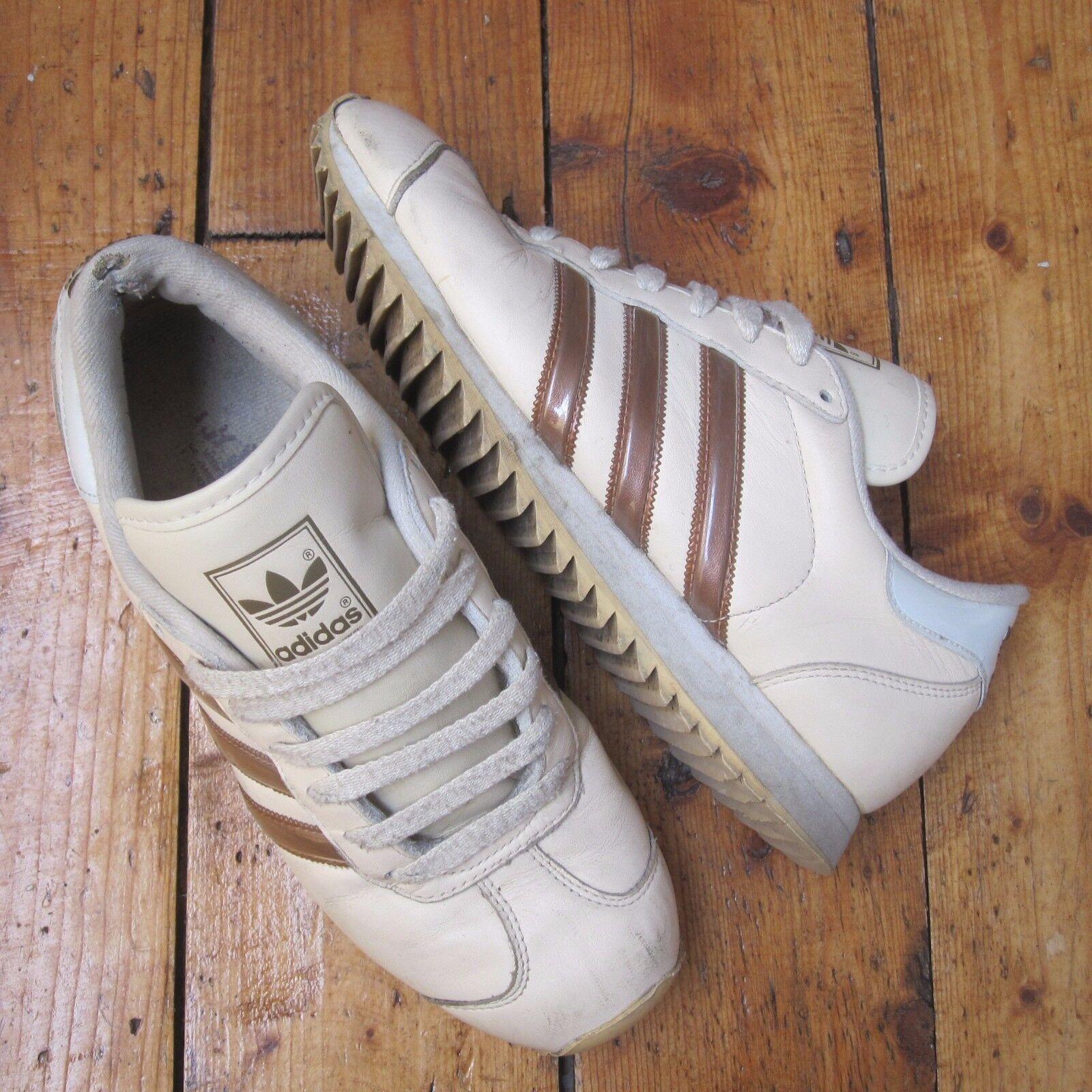 Adidas Vintage 2000 Cream Leather Trainers 660076 Mens Unisex Three Stripe
