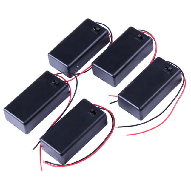 5PCS 9V Battery Holder Box Case Pack with Wire Lead Cover ON/OFF Switch New
