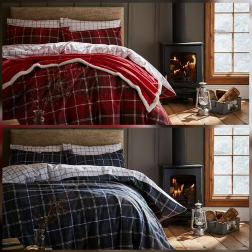 Flannelette Duvet Cover Set Red or Navy Tartan Check 100/% Brushed Cotton