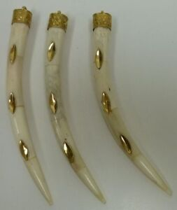 Buffalo-Horn-OR-Bone-Tusk-Shaped-Pendants-Brass-Inlay-and-Cap-Polished-Unique