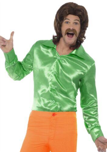 Adult Mens 60s 70s Groovy Disco Hippy Hippie Shirt Top Fancy Dress Costume New