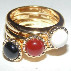 Signed-Ross-Simons-gold-on-sterling-silver-multi-gemstone-3-stacking-rings-sz-6