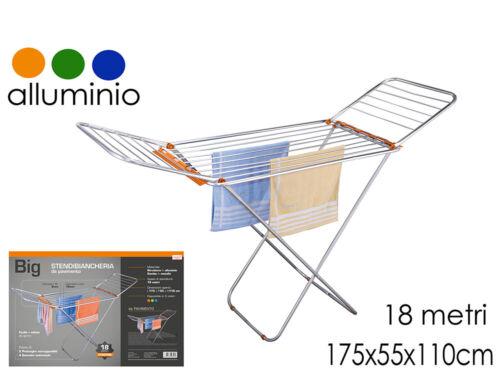 Stendino Stendibiancheria in Alluminio No Ruggine 18 Metri Leggero e Pratico
