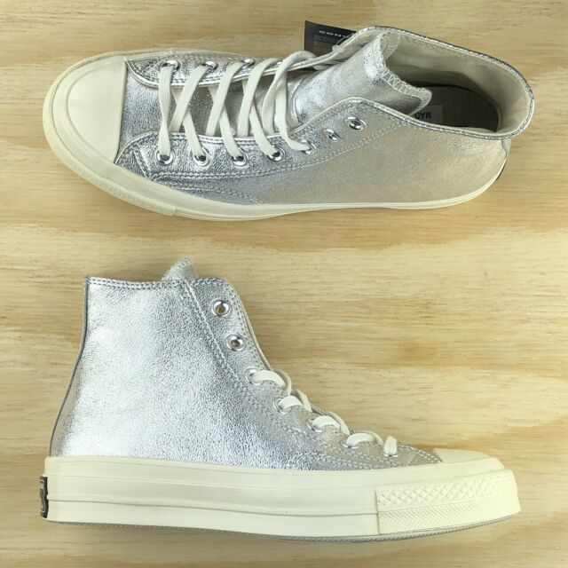Converse Chuck Taylor All Star 70 High Top Silver Metallic Leather 561731C Size