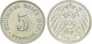 5 Peniques 1907J Alemania / Imperio St, Recién Acuñado (4)