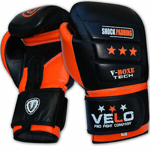 VELO-Boxing-Gloves-Leather-Gel-Fight-Punch-Bag-MMA-Muay-thai-Pads-Sparring