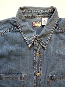 Levi-039-s-Denim-Shirt-Herren-Regulaere-Passform-Knoepfe-Medium-mittelblau-LSHT-736