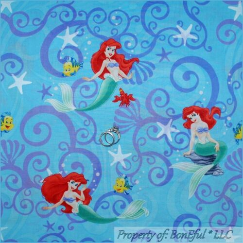 BonEful-Fabric-FQ-Blue-Disney-Little-Mermaid-GIRL-Princess-Beach-Star-Fish-Swirl