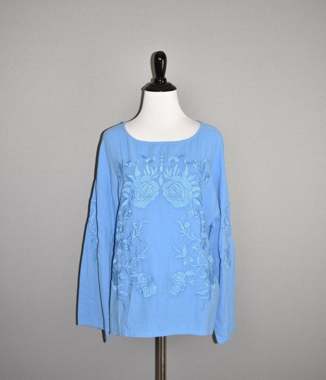 SOFT SURROUNDINGS NEW  bluee Embroidered pinks Gauze Top XS