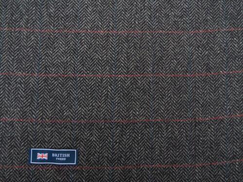 100/% Lana Tweed Mezcla de tela gris claro//Negro Check /& HB Hecho en Inglaterra 2.26 M