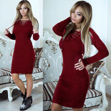dc138a9bd7c6 item 3 Women s Long Sleeve V Neck Lace Up Knit Bodycon Slim Fits Jumper  Sweater Dresses -Women s Long Sleeve V Neck Lace Up Knit Bodycon Slim Fits  Jumper ...