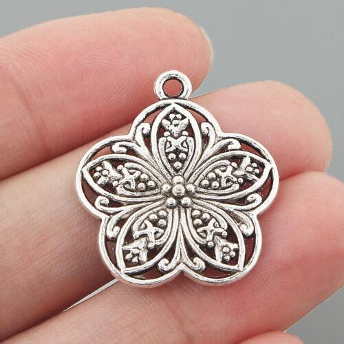 5Pcs Argent Antique Filigrane Fleur Charms Pendentif Bijoux Making Findings 26 mm