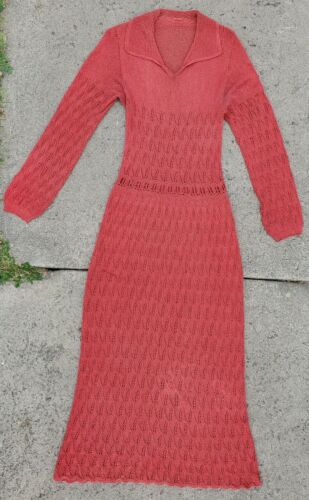 Vintage 1930s Rust Rayon Knit Sweater Dress