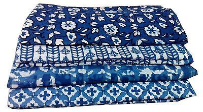 20 yards Assorted Block Print Lot Indigo Dabu Print Cotton Fabric lot 44''