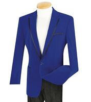 Men's 1 Button Royal Blue Velvet Blazer W/ Black Trim