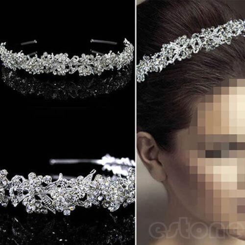 Mariage Princesse Cristal Autrichien Cheveux Couronne Diadème Voile Bandeau Miss