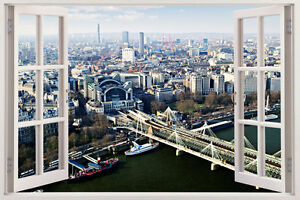 London Skyline View Urban Scape Window View Wall Stickers huge 3D Art Decal City