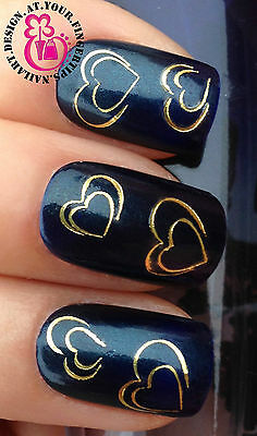 VALENTINES DAY NAIL ART WATER TRANSFERS STICKERS DECALS SET GOLD HEARTS #106
