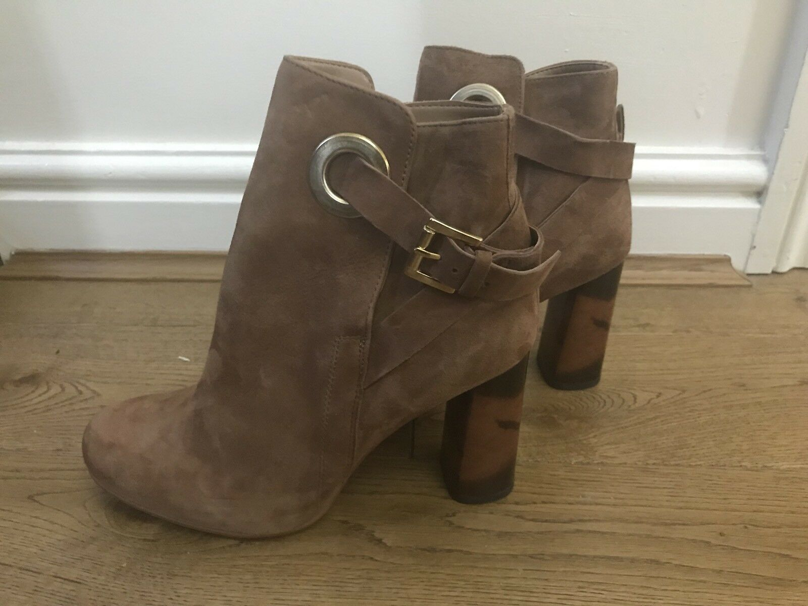 BN NEXT femmes SUEDE marron BUCKLE UP ANKLE bottes Taille UK 5 RP