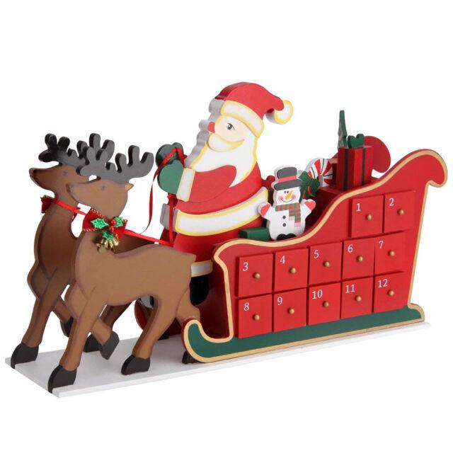 Calendario Avvento Slitta Babbo Natale Legno 24 Cassetti Decorazioni Natalizie
