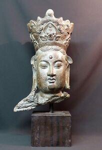tres-beau-buste-divinite-guanyin-Bouddha-sculpture-resine-55cm4kg-tres-deco