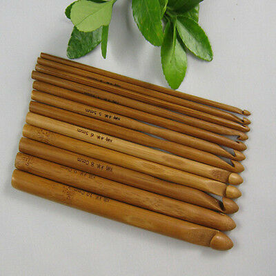 12 Size Bamboo Handle Crochet Hook Knit Weave Yarn Craft Knitting Needle Set 6""