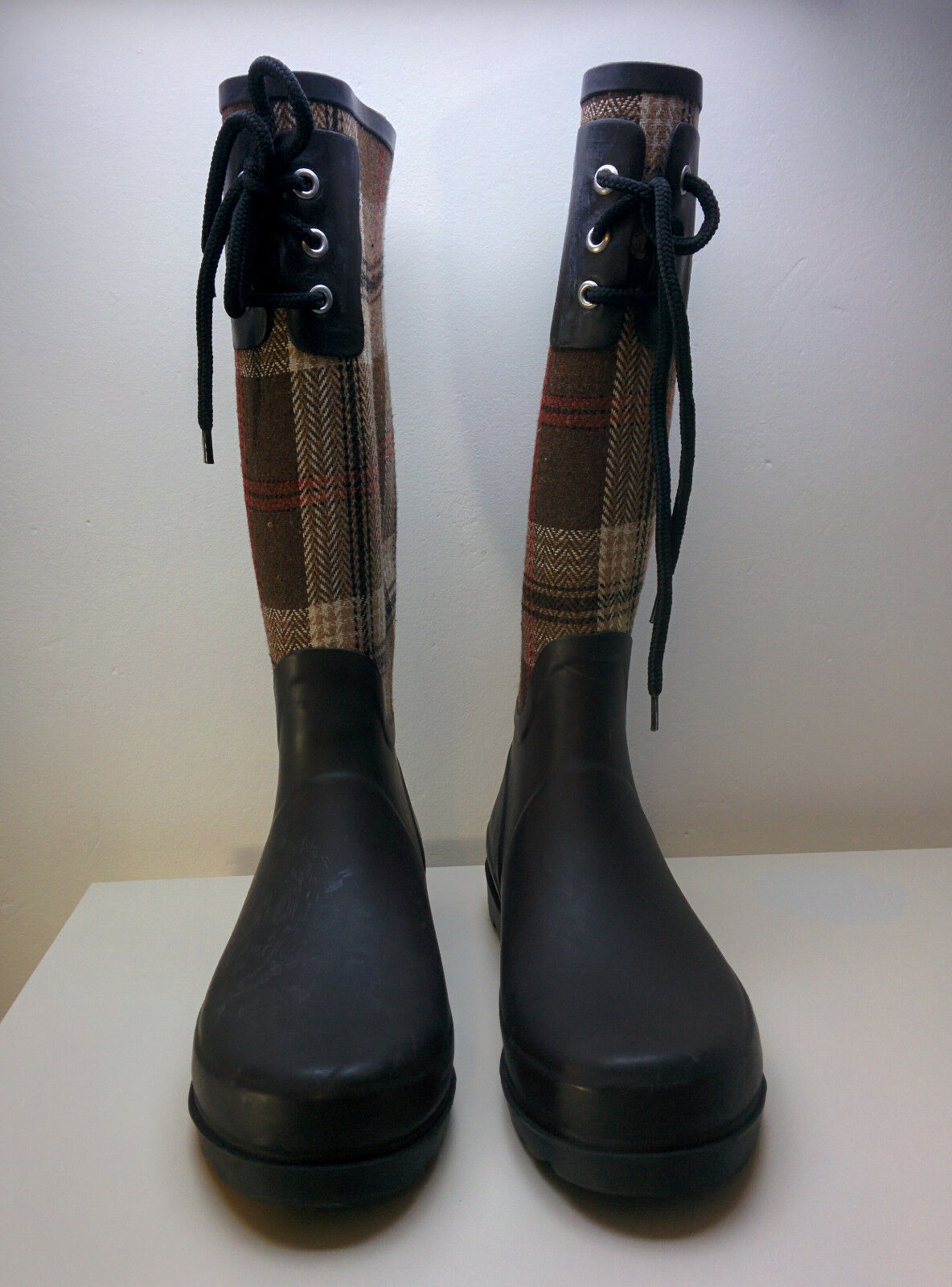 Wellington Boots (Brown + Tartan) US 7