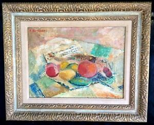 Antique-Oil-Painting-on-Canvas-Still-Life-Signed-Heitmann-23-034-X19-034