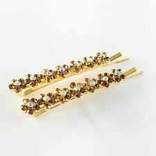 USA Bobby Pin Rhinestone Crystal Hair Clip Hairpin Jeweled Flower Brown New B15