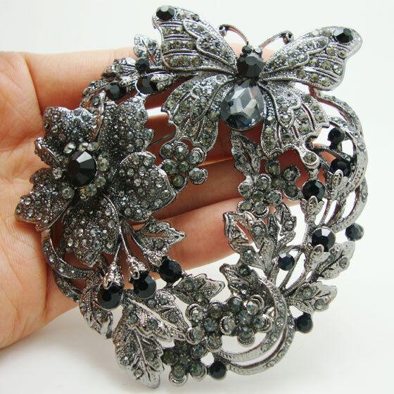 Vintage Retro Butterfly Flower Brooch Pin Black Rhinestone Crystal Pendant