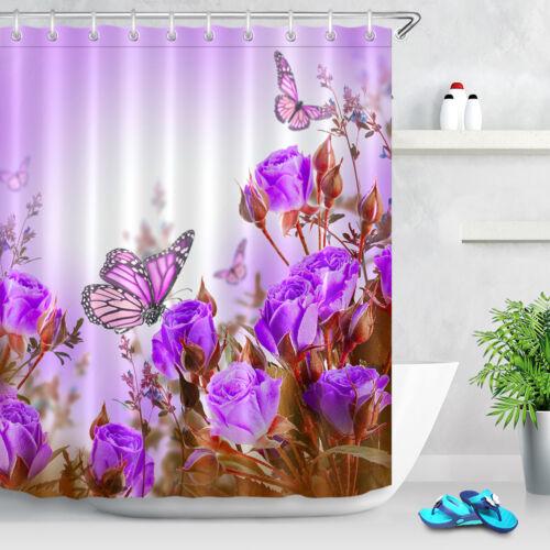 Mariposa Flor Morada Forro De Cortina De Ducha Tela Impermeable Baño Gancho Set