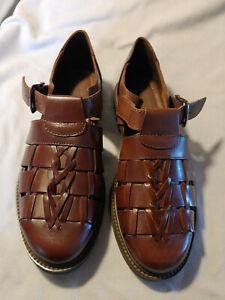 Men Florsheim Sundridge 84450 Brown Leather Fisherman Sandals Shoes Size 10 M