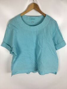 ADIAGO-Shirt-Blusenshirt-tuerkis-Groesse-40-100-Leinen