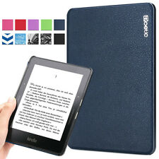 Poetic Slimline Slim PU Leather Book Case Cover for Amazon Kindle Voyage Blue
